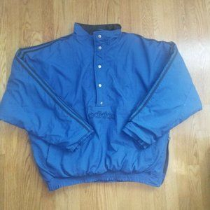 ADIDAS Blue Pullover Striped Puffer Coat Vintage